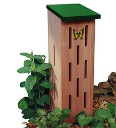 Pollinating butterflies are a desirable addition to your backyard habitat, flowers beds and garden. Give them shelter from the elements and predators with our handcrafted Cedar Butterfly House. It features openings on three sides for easy access, protection and ventilation; an attractive butterfly motif; and a flip-top for easy cleaning and observation.