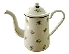 Floral French Enamelware Coffee Pot Vintage