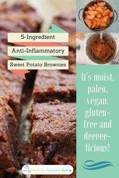 5 ingredient brownies-- With the holidays coming, these treats have no eggs, dairy, flour/grains, and include healthy sweet potatoes. #MedicalMedium Option- carob powder is good natural substitute for cocoa, but I have not personally tried it with that.