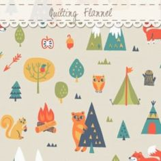 Allison Cole - Happy Camper Quilting Flannel - Camping Trip in Cream