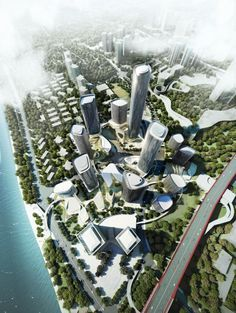 Four corporate investors have come together to develop the sqm Danzishi Central Business District with a common vision to create a premium business. Concept Architecture, Futuristic Architecture, Landscape Architecture, Landscape Design, Architecture Design, Site Development Plan, Parque Linear, Vertical City, Eco City