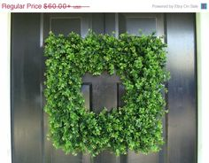 Custom Square Boxwood Wreath Artificial Boxwood by ElegantWreath