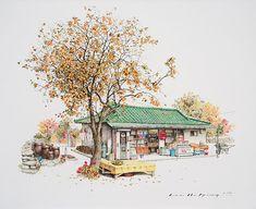 20 Years of ConvenienceNeocha – Culture & Creativity in Asia Building Illustration, Illustration Art, Ink Pen Art, Sketches Of Love, List Of Artists, Artist List, Drawing Practice, Urban Sketching, Korean Artist