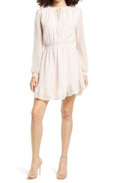 WAYF x BFF Laura Smocked Waist Long Sleeve Minidress   Nordstrom