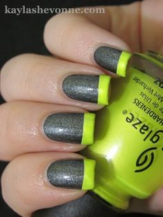 Gray and Florescent Yellow French Manicure- different shade of yellow