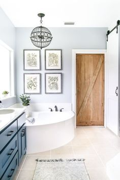 Industrial Rustic Master Bath Retreat: what a beautiful relaxing bathroom design. Industrial and rustic elements blend flawlessly. Relaxing Bathroom, Small Bathroom, Bathroom Ideas, 1950s Bathroom, Barn Bathroom, Neutral Bathroom, Ikea Bathroom, Master Bathrooms, Bathroom Mirrors