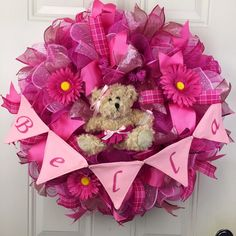 Baby Shower Wreath, Baby Girl Wreath, Made to Order Deco Mesh Wreath, Baby Deco Mesh Wreath, pink baby wreath, Baby Girl Wreath by RhondasCre8iveCorner on Etsy