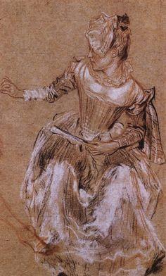 Watteau sketch of a lady Life Drawing, Figure Drawing, Drawing Sketches, Painting & Drawing, Art Drawings, Trois Crayons, Caravaggio, Jean Antoine Watteau, Rennaissance Art