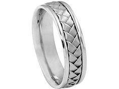 Men's 14K WHITE GOLD WOVEN 6mm COMFORT FIT WEDDING BAND size 8.25