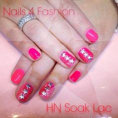 Hollywood Nails soaklac on natural Nails with stars