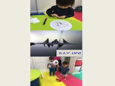 How does airplane fly? How does a bird fly? How does it feel to create your very own UFO and watch fly right before your eyes! Children will love this activity. Its simple and they can play it for a very long time !! :)  What you need : 1.paper plates (cut into 12 triangles) 2.stickers Once complete, alternately push 1 triangle upwards and the other downwards.