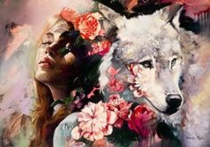 mujer-con-lobo Wolf Painting, Diy Painting, Painting & Drawing, Dimitra Milan, Art Manga, Kunst Online, Surrealism Painting, Arte Pop, American Artists