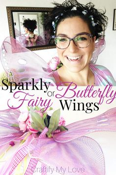Sparkly DIY fairy or butterfly wings from fishnet stockings. Click to learn how to make this last minute costume from things you'll find at your home. #craftifymylove #upcycling #costumeidea #butterfly #fairy #halloween #dressup via @CML_Habiba