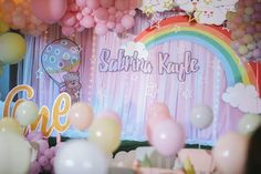 Stage set up for Cloud/ Rainbow with Hot air Balloon Theme Stage Set, Hot Air Balloon, Pop Up, Party Themes, Balloons, Rainbow, Clouds, Day, Rain Bow