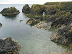 Sea stacks and arches in Dunabrattin on Copper Coast Geopark