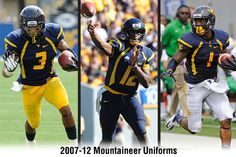 #WVU blue uniforms from 2007-12. Pictured are Stedman Bailey (3), Geno Smith (12) and Tavon Austin (1).