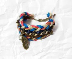 Chunky woven bracelet  electric pink neon bright by ardentreverie, $38.00