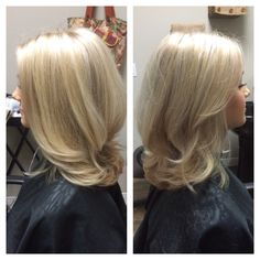 Cool Blonde Highlights, Medium Length, Blowout