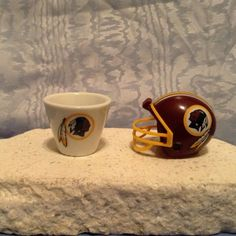 NFL MINIATURE PORCELAIN CUP (2007) & MINIATURE HELMET (2010) Washington Redskins #WashingtonRedskins