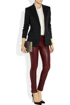 Stella McCartney|Iris wool blazer| The Row leather pants and clutch