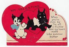 Vintage Greeting Card Valentine's Day Die-Cut Hearts Scotty Dog 1930s
