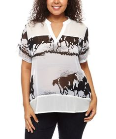 Love this White Abstract Notch Neck Top - Plus by C.O.C. on #zulily! #zulilyfinds