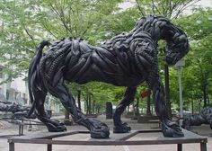 Horse Sculpture (made from recycled car tyres... totally awesome) by Yong Ho Ji