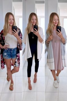 How to wear a Kimono in summer: over a tank and jeans/shorts with flats, over a romper or jumper with heels, over a cozy dress with sneakers. Summer Outfits Women, Mom Outfits, Country Shirts, Dress With Sneakers, Summer Wardrobe, Flats, Pullover, Shorts, Kimono Top