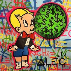 """""""Money to Blow"""" by Alec Monopoly. This will be shown to students during lesson 1. Alec Monopoly is a highly famous and favorite graffiti artist among celebrities."""