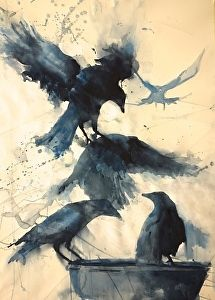 Totem by artist Sarah Yeoman. Watercolor painting found on the FASO Daily Art Show Art And Illustration, Art Watercolor, Inspiration Art, Art Plastique, Bird Art, Oeuvre D'art, Painting & Drawing, Crow Painting, Amazing Art