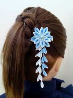 Light Sky Blue and White Fabric Flower Hair Alligator Clip Hana Tsumami Kanzashi. $25.00, via Etsy.