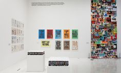 Installation view of 'Woodblock Poster Series' by Anthony Burrill, 2004-11, printed by Adams of Rye, East Sussex, UK    Photograph by Cameron Wittig