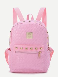 Shop Pink Studded Detail Woven PU Backpack online. SheIn offers Pink Studded Detail Woven PU Backpack & more to fit your fashionable needs.