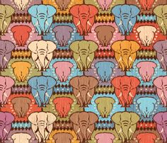 Elephants fabric by cassiopee on Spoonflower - custom fabric