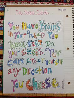 My Adventures Teaching : We're Back to School!!  Motivational Quotations Dr. Seuss Quote