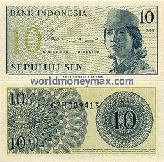 WorldMoneyMax.com :: Indonesia 10 Sen 1964 banknote. BANK INDONESIA. 10. 1964. Gubernur Direktur. SEPULUH SEN. P.N. PERTJETAKAN KEBAJORAN / BARANSIAPA MENIRU ATAU MEMALSUKAN UANG KERTAS DAN BARANGSIAPA MENGELUARKAN DENGAN SENGADJA ATAU MENJIMPAN UANG K... International Flags, Valuable Coins, Coins Worth Money, Coin Worth, Old Money, Gold Coins, Historical Photos, Stamp, Art