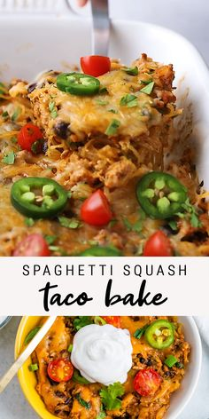 This spaghetti squash taco bake combines low-carb spaghetti squash with ground turkey, taco seasoning, salsa and cheese for a delicious, healthy and easy dinner. dinner whole 30 Spaghetti Squash Taco Bake Healthy Low Carb Recipes, Healthy Baking, Paleo Recipes, Mexican Food Recipes, Cooking Recipes, Recipes Dinner, Paleo Meals, Paleo Diet, Heart Healthy Meals