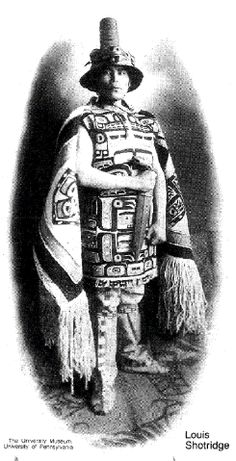 """Louis Shotridge was born about 1882 into a noble Tlingit family and grew to be a bright, handsome youth. His grandfather was a famous Chilkat chief known as Chartrich, and his father was George Shotridge, or Yeilgooxu (""""Yel-goo-hu""""), the keeper of the Whale House at the turn of the century. Under the matrilineal system of the Tlingits, Louis was born into his mother's clan, the Kaagwaatan, on the Eagle side."""