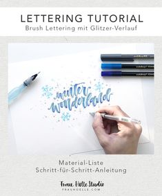 """- Brush Lettering with glitter gradient - Ms. Hell Studio - – Brush Lettering mit Glitzer-Verlauf – Frau Hölle Studio Lettering tutorial """"Brush lettering with glitter gradient"""" incl. Material list and step-by-step instructions Marker, Bullet Journal Hand Lettering, Scrapbook Letters, Sketch Note, Diy Letters, Lettering Tutorial, Diy Tattoo, Brush Lettering, Step By Step Instructions"""
