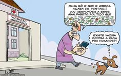 Charge do Lute traçando um paralelo entre vacinação e a impaciência política (19/09/2016). #Charge #Política #Vacinação #HojeEmDia