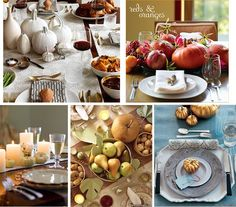 tables with pumpkins and other fall fruit #holidayentertaining