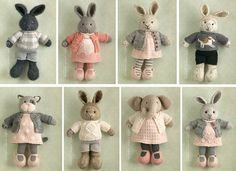 55 trendy doll pattern bunny little cotton rabbits Knitted Bunnies, Knitted Animals, Crochet Bunny, Knitted Dolls, Crochet Dolls, Knitting Projects, Crochet Projects, Knitting Patterns, Little Cotton Rabbits