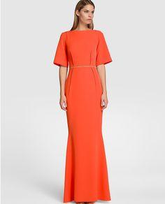 Vestido largo de mujer Elogy Colección Juanjo Oliva en color coral