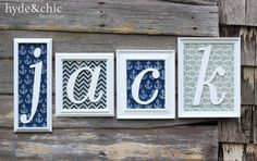 Baby boy nursery wall decor. Custom name monogram frames perfect for above the crib or changing table. Cus