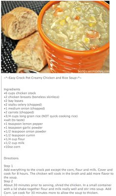 Creamy Chicken and Rice Crock~Pot Soup... Need to sub. all-purpose GF flour (K. Arthur?) and almond milk but it looks yummy. Chicken And Rice Crockpot, Creamy Chicken And Rice, Crockpot Dishes, Crock Pot Soup, Crock Pot Slow Cooker, Crock Pot Cooking, Slow Cooker Recipes, Crockpot Recipes, Soup Recipes