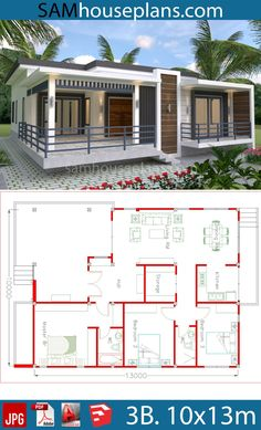 Modern 3 Bedroom House Plans Lovely House Plans with 3 Bedrooms – modern courtyard house plans Simple Ranch House Plans, Small Modern House Plans, Unique House Plans, Beautiful House Plans, My House Plans, House Layout Plans, Beach House Plans, House Layouts, Beautiful Beautiful