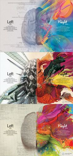 Mercedes Benz left/right brain infographic ad set. Beautiful stuff. Brain Drawing, Brain Art, Brain Painting, My Brain, Brain Puns, Brain Science, Brain Games, Left Handed Facts, Left Handed Quotes