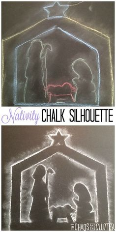 Presépio com giz. Nativity Chalk Silhouette Christmas Craft for Kids Preschool Christmas, Christmas Nativity, Christmas Crafts For Kids, Christmas Activities, A Christmas Story, Christmas Projects, Holiday Crafts, Christmas Holidays, Christmas Bells