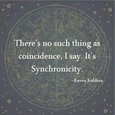 """""""No existe tal cosa como la coincidencia, te digo. Es syncronicidad."""" Raven Kaldera"""