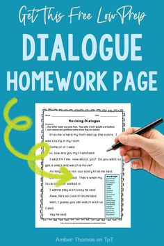 Click to download this free dialogue worksheet.  Your students will practice analyzing a variety of dialogue terms on this printable.  Transferring these skills to their own writing will be easy.  #4thgrade #LanguageArts Writing Lessons, Writing Resources, Writing Skills, Teaching Resources, Classroom Job Application, Classroom Jobs, Mentor Sentences, Mentor Texts, Expository Writing